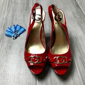 G by Guess Red Slingback Peep Toe Pump Size 8